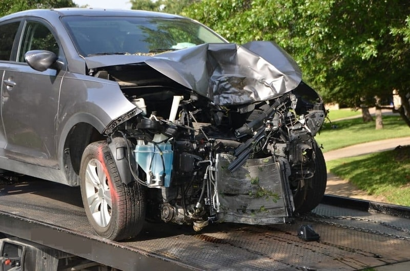 Car involved in front end collision